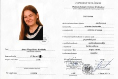 Dyplom Magistra Ochrony Środowiska